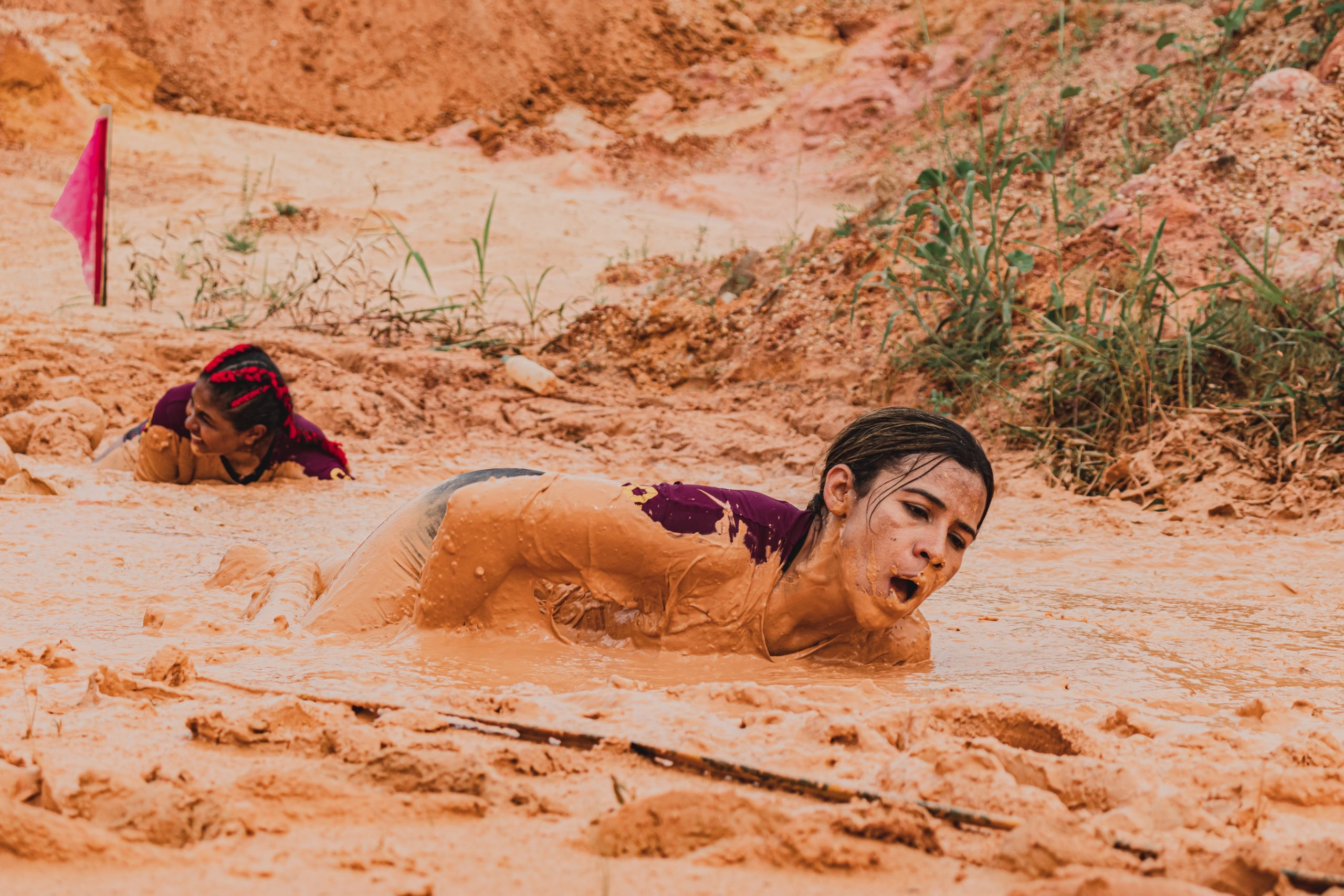 Woman in a muddy event